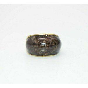 Brown Metallic Enamel Gold Tone Statement Ring